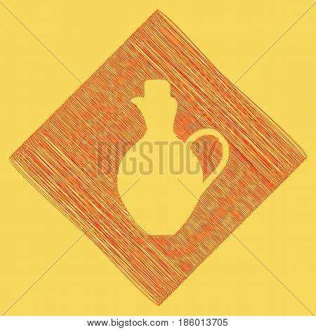 Amphora sign illustration. Vector. Red scribble icon obtained as a result of subtraction rhomb and path. Royal yellow background.