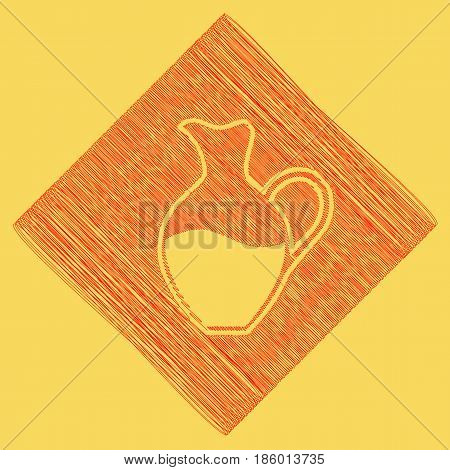 Amphora sign. Vector. Red scribble icon obtained as a result of subtraction rhomb and path. Royal yellow background.