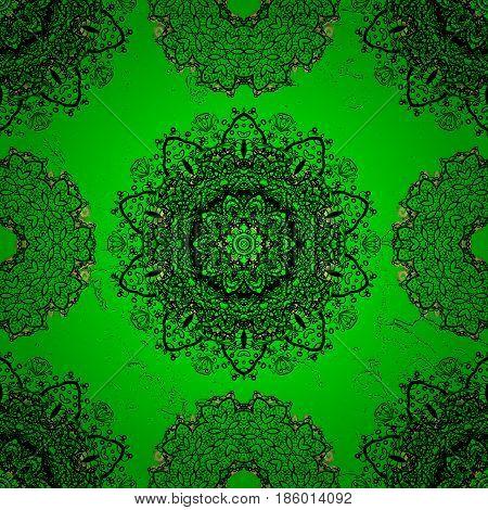 Vector illustration. Oriental colored pattern on green background. Vintage decorative elements. Islam Arabic Indian turkish pakistan chinese ottoman motifs. Abstract Mandala.