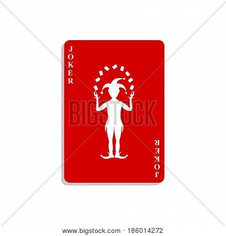 Playing card with Joker in red design with shadow on white background