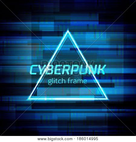 Glitch frame with technology error and neon triangle