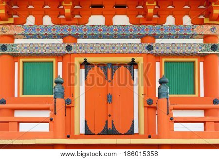 Close Up Details Of Japanese Architecture On Door And Windows At A Building In Shinto Temple, Kyoto,