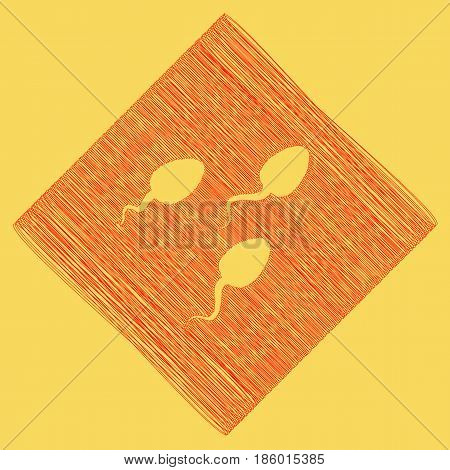 Sperms sign illustration. Vector. Red scribble icon obtained as a result of subtraction rhomb and path. Royal yellow background.