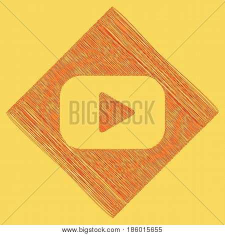 Play button sign. Vector. Red scribble icon obtained as a result of subtraction rhomb and path. Royal yellow background.