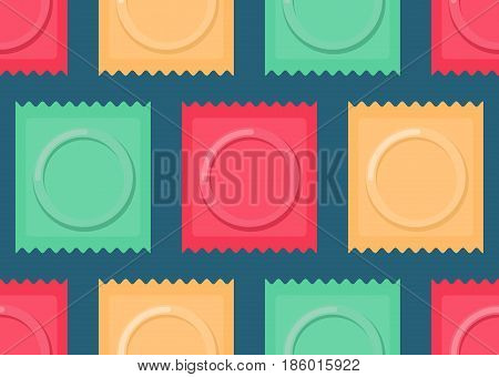 Set Color Condom Packed Seamless Pattern. Contraceptive Background. Sex Protection Texture