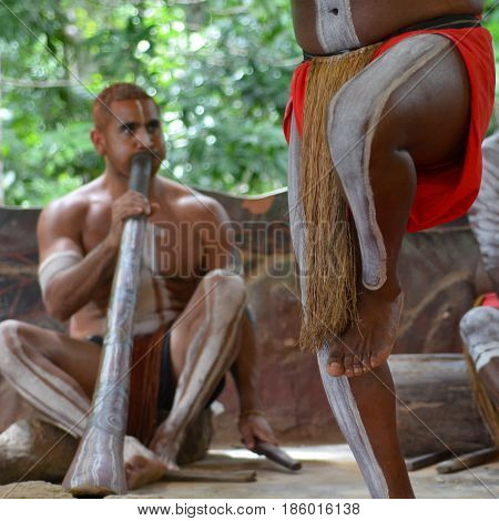 QUEENSLAND, AUS - APR 17 2016: Yirrganydji Aboriginal men playand dance Aboriginal music during Aboriginal culture show in Queensland Australia.