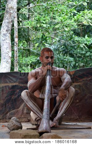 QUEENSLAND, AUS - APR 17 2016: Portrait of one Yirrganydji Aboriginal man play Aboriginal music on didgeridoo instrument during Aboriginal culture show in Queensland Australia.