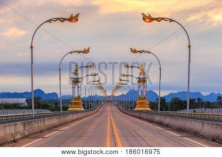 3rd Thai - Laos friendship bridge at sunrise time Nakhon Phanom Province Thailand