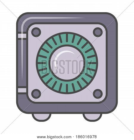 Bank safe pictogram isolated on white background vector illustration. Business protection, combination safe, identity verification icon