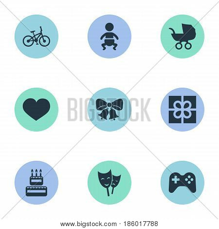 Vector Illustration Set Of Simple Holiday Icons. Elements Infant, Bicycle, Resonate And Other Synonyms Mask, Stroller And Actor.