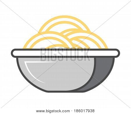 Asian noodle in plate icon isolated vector illustration. Japanese delicious seafood, traditional asian culinary, diet healthy food pictogram.