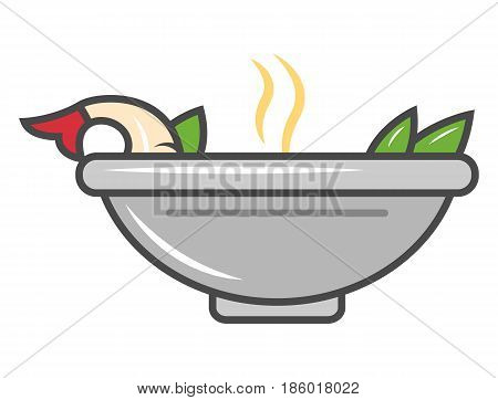 Asian noodle soup in plate icon isolated vector illustration. Japanese delicious seafood, traditional asian culinary, diet healthy food pictogram.
