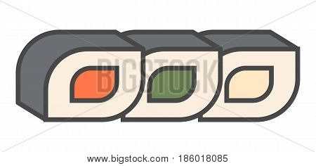 Japanese sushi roll icon isolated vector illustration. Asian delicious seafood, traditional culinary, diet healthy food pictogram.