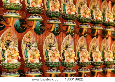 Wall With Buddha Statues Inside The Buddha Tooth Relic Temple