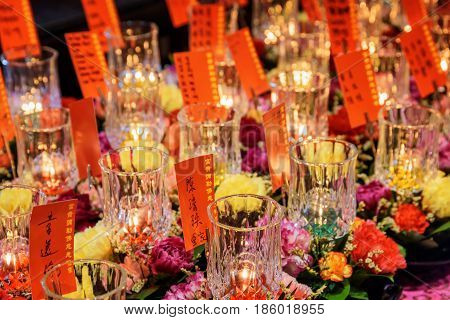Candles And Ritual Flowers, The Buddha Tooth Relic Temple
