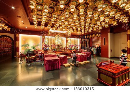 Interior Of The Buddha Tooth Relic Temple And Museum, Singapore
