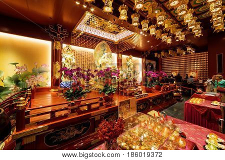 Altar Inside The Buddha Tooth Relic Temple In Singapore