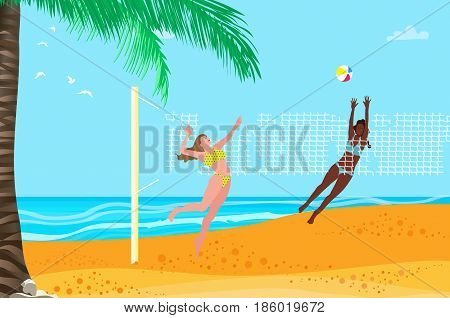 Beach volleyball. Group of young girls playing ball. Sport team. Summertime. Net. Palm tree. Vector illustration