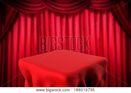 Square Table And Red Curtain Background
