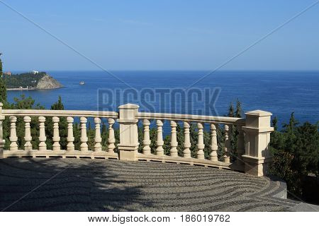 Viewpoint at seaside. Observation deck with a parapet.