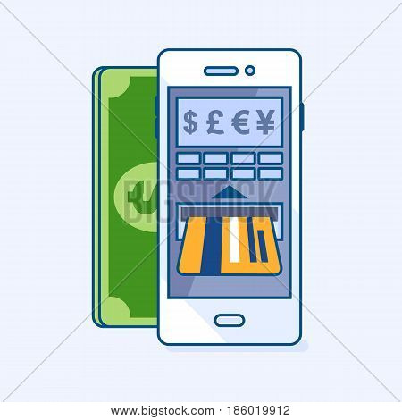 Vector illustration of ATM cash machine smartphone mobile refill or gives dollar money banknote cash on credit card through phone. Wallet banking eCommerce business finance concept icon pictogram
