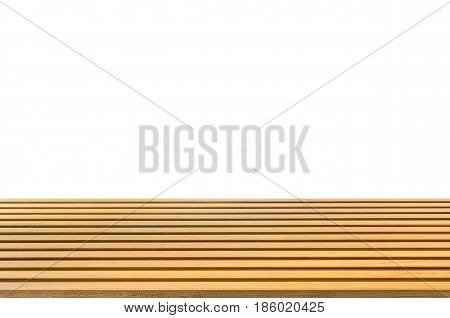 wooden counter or timber wood counter on white background