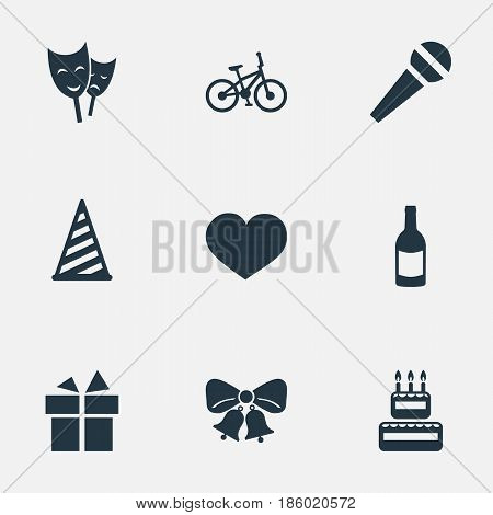 Vector Illustration Set Of Simple Holiday Icons. Elements Mask, Speech, Cap And Other Synonyms Gift, Confectionery And Fizz.