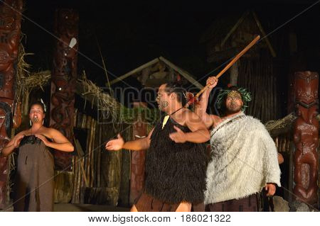 Maori People Sing And Dance