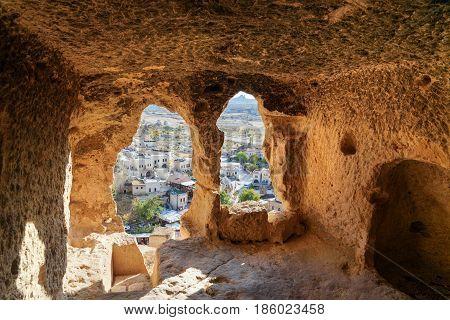 View Through Carved Cave Window. Church Of St. John The Baptist In Cavusin. Cappadocia. Turkey