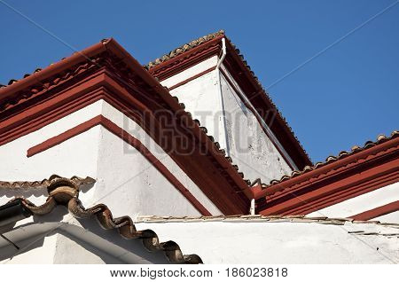 Detail of tiled roof of San Jose Church, in Grazalema town, Spain. This village is part of the pueblos blancos -white towns- in southern Spain, Andalusia region