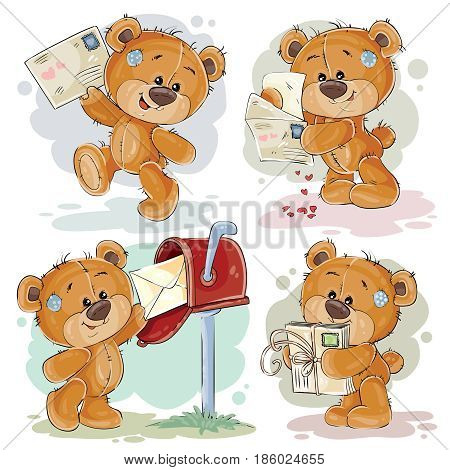 Set of clip art illustrations of teddy bear gets and sends letters