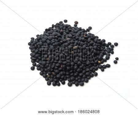 Beluga lentils on a white background healthy food