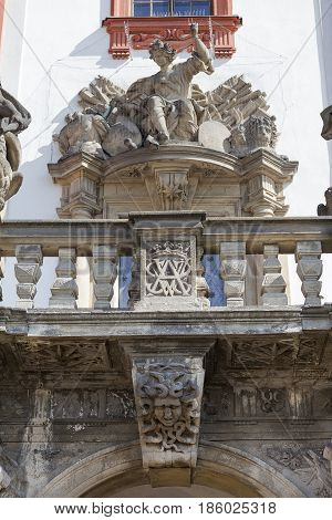 Troja Palace in sunny day, details of sculpture at the entrance, Prague, Czech Republic, Europe