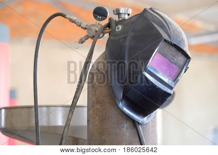 Welding equipment close up in a car repair station
