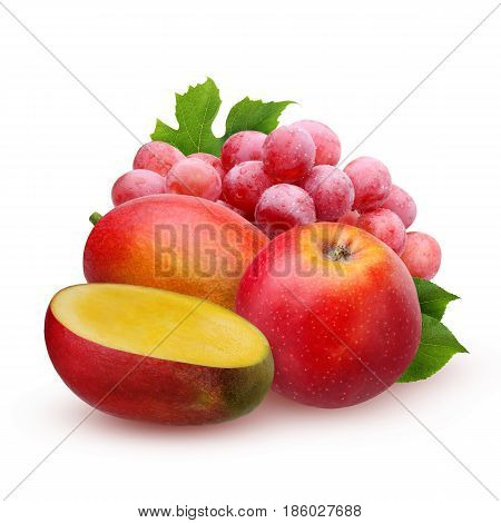 Isolated mango Apple and grapes. Ripe fruits mango Apple and red grapes isolated on white background with shadows. A bunch of fruit.