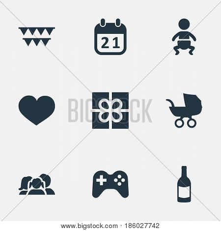 Vector Illustration Set Of Simple Celebration Icons. Elements Baby Carriage, Game, Box And Other Synonyms Fizz, Box And Feelings.