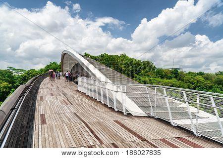 Bridge Imitating Wave. Wooden Walkway Leading To Park, Singapore