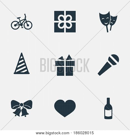 Vector Illustration Set Of Simple Birthday Icons. Elements Resonate, Box, Cap And Other Synonyms Beverage, Resonate And Prize.