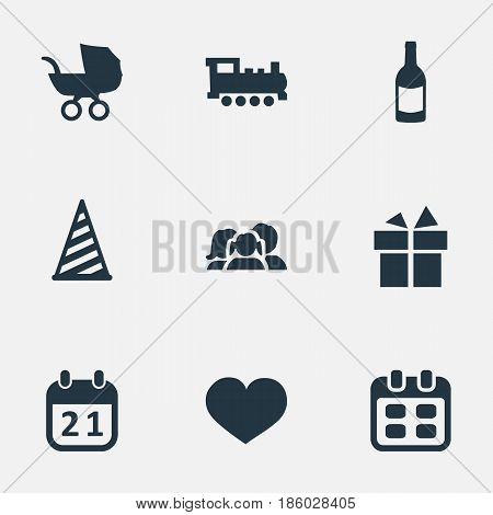 Vector Illustration Set Of Simple Birthday Icons. Elements Baby Carriage, Train, Ribbon And Other Synonyms Heart, Beverage And Fizz.