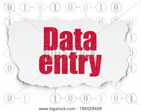 Data concept: Painted red text Data Entry on Torn Paper background with Scheme Of Binary Code