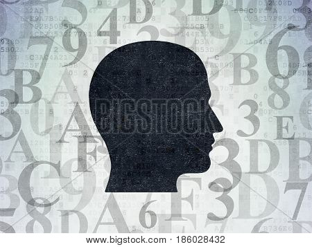Data concept: Painted black Head icon on Digital Data Paper background with  Hexadecimal Code