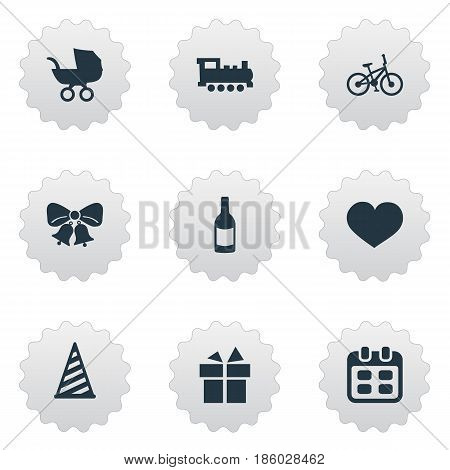 Vector Illustration Set Of Simple Birthday Icons. Elements Bicycle, Soul, Ribbon And Other Synonyms Train, Feelings And Soul.