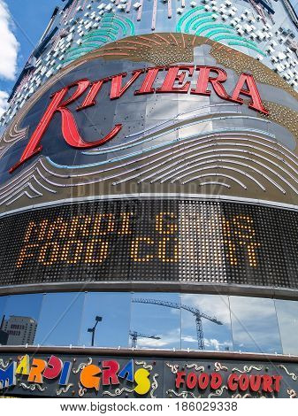 Las Vegas, USA - August 14, 2008; Brightly colored promotional facade of Riviera Hotel and Casino in Las Vegas.
