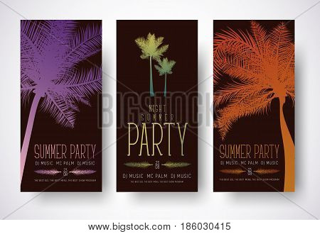 Design Of Minimalist Flyers For A Summer Party.