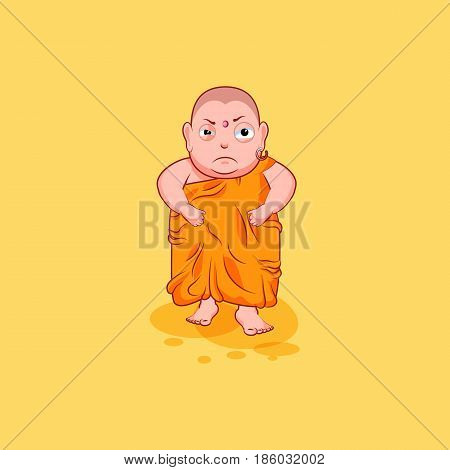 Sticker emoji emoticon emotion vector isolated illustration unhappy character cartoon Buddha evil, angry and dissatisfied sticker Buddhist monk kashaya yellow background for mobile app info graphics