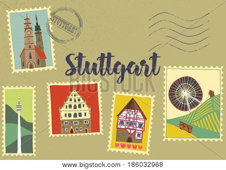 Hand-drawn illustration of Stuttgart landmarks on post marks: Monastery church half-timbered houses Cannstatt Ferris wheel TV tower. For souvenirs postcards magnets. Baden-Wurttemberg Germany
