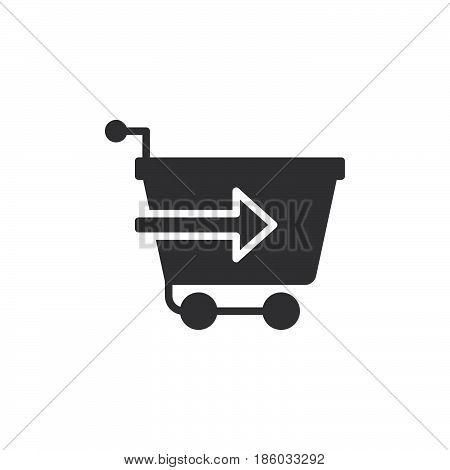 Shopping cart with arrow checkout icon vector filled flat sign solid pictogram isolated on white. Symbol logo illustration. Pixel perfect