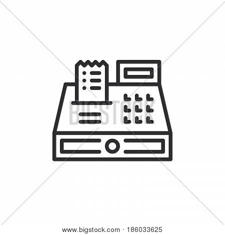 Cash register line icon outline vector sign linear style pictogram isolated on white. Symbol logo illustration. Editable stroke. Pixel perfect