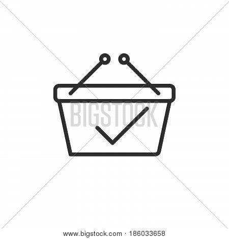 Shopping basket with check mark line icon outline vector sign linear style pictogram isolated on white. Paid symbol logo illustration. Editable stroke. Pixel perfect