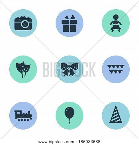 Vector Illustration Set Of Simple Celebration Icons. Elements Cap, Resonate, Mask And Other Synonyms Hat, Bells And Resonate.
